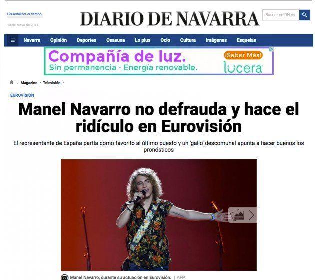 El titular del 'Diario de Navarra' sobre la actuación de España en Eurovisión que arrasa en