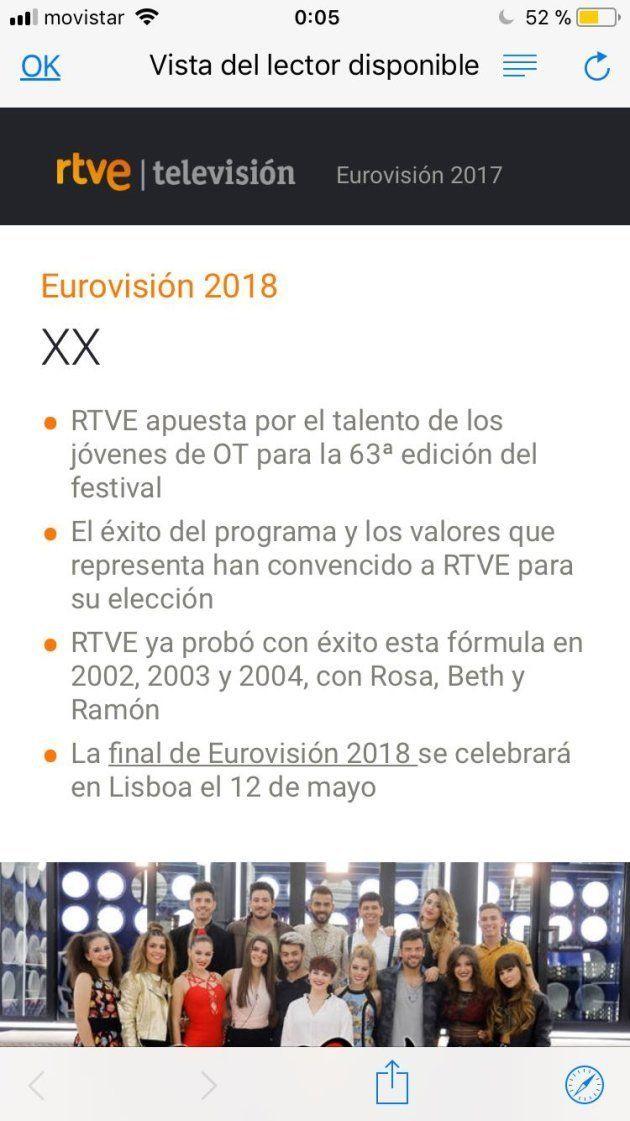 La web de RTVE adelanta por error que el participante de Eurovisión saldrá de 'Operación