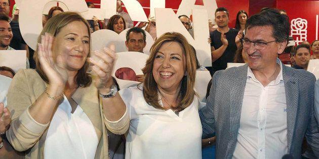 Esperanza Pérez, Susana Díaz y José Luis Sánchez
