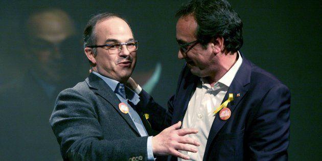 Los exconsellers y candidatos de Junts per Catalunya Jordi Turull y Josep Rull, durante el mitin de la...