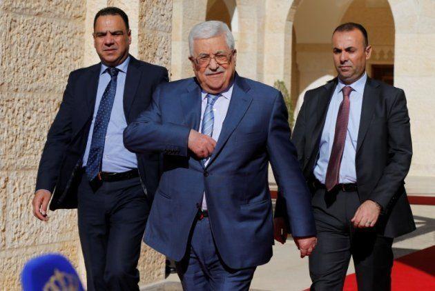 El presidente palestino Mahmoud Abbas, el pasado 22 de octubre en Ammán, tras entrevistarse con el rey