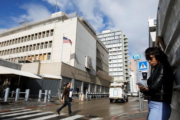 Fachada de la embajada de EEUU en Israel, en Tel