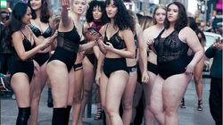 Modelos 'curvy' en lencería paralizan Times Square en contra de Victoria's