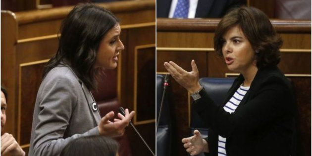 Irene Montero y Soraya Sáenz de Santamaría, durante su cara a cara de esta mañana en el Congreso de los