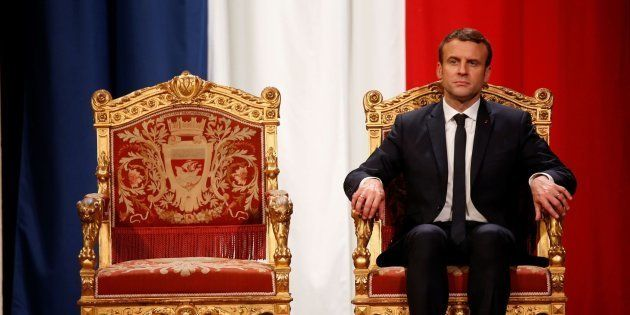 French President Emmanuel Macron takes part in an official ceremony at Paris' city hall after his formal...