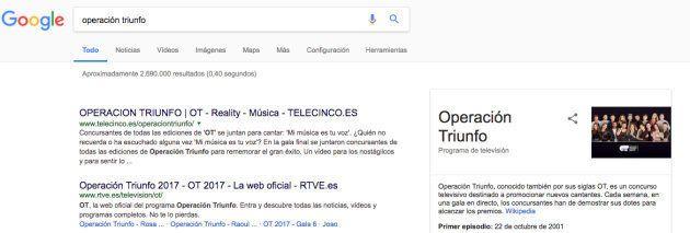 Hemos buscado 'Operación Triunfo' en Google y nos hemos llevado una