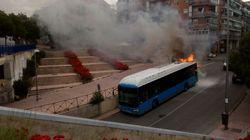 Espectacular explosión de un autobús de la EMT en