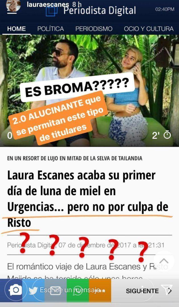 El tremendo cabreo de Laura Escanes con un titular sobre su luna de miel y Risto