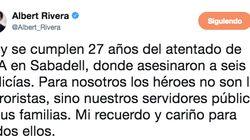 Críticas a Albert Rivera por lo que incluyó junto a este tuit sobre