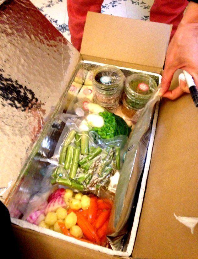 Una de las cajas, con todo listo para cocinar, de Les