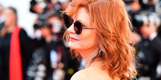 Susan Sarandon posa en la alfombra roja del Festival de Cannes en la primera noche del mismo, el 17 de...