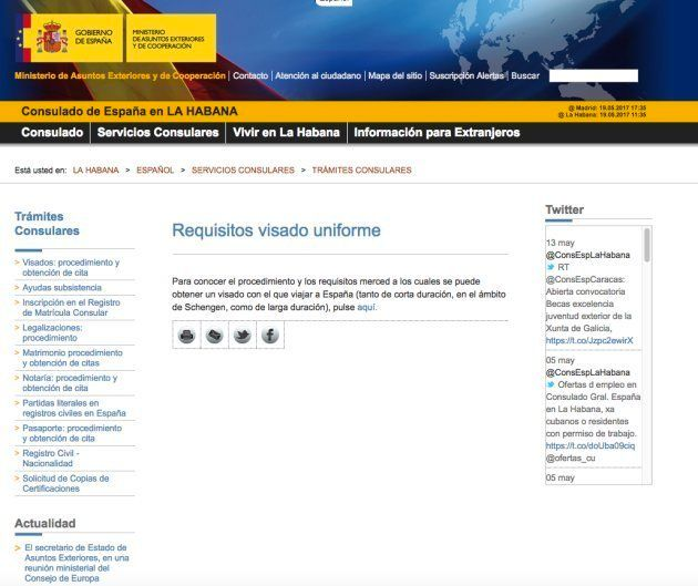 La web del Ministerio de Exteriores enlaza a una página de citas