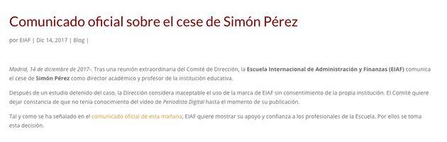 Despedido Simón Pérez, uno de los dos protagonistas del vídeo viral de las