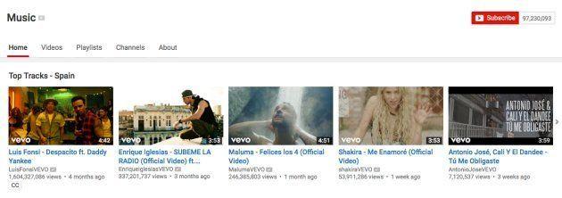 Los vídeos musicales más vistos en España en YouTube el viernes 26 de mayo de