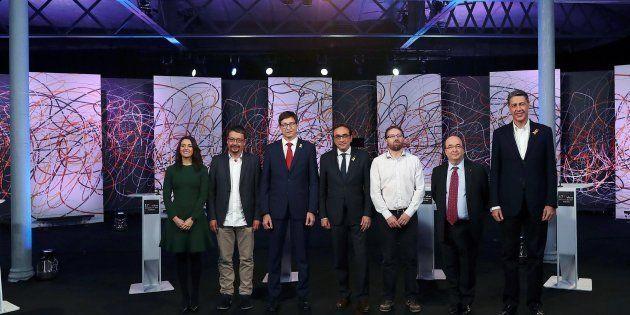 Debate electoral organizado por 'La Sexta', con los candidatos Josep Rull (JxCat), Carles Mundó (ERC),...