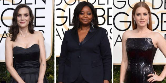 Winona Ryder, Octavia Spencer y Amy Adams, durante la ceremonia de los Globos de Oro de