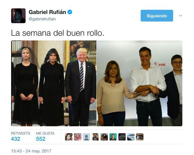 Gabriel Rufián triunfa en Twitter con esta irónica comparación entre estas dos