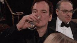 Tarantino escupiendo del susto y otros grandes gif de los Globos de