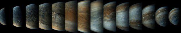 Imágenes con el color alterado que muestran cómo cambia la perspectiva de Juno en su