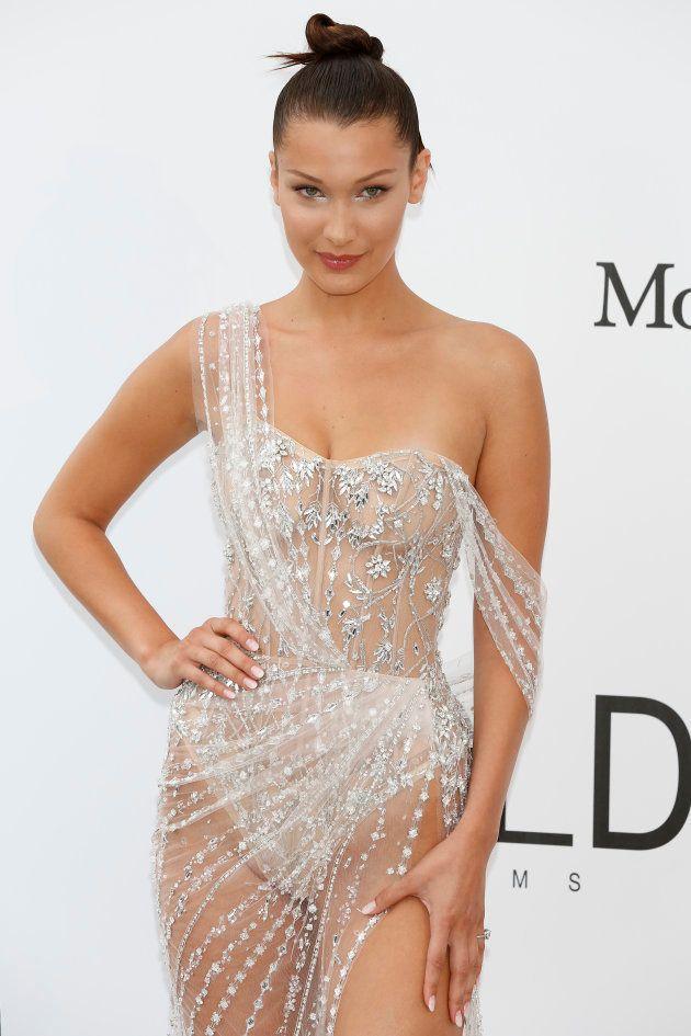 7bba5b336 Bella Hadid triunfa en la gala amfAR con un vestido transparente ...
