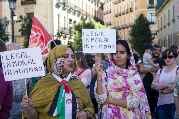 Manifestación de apoyo a los refugiados en Madrid, en junio de