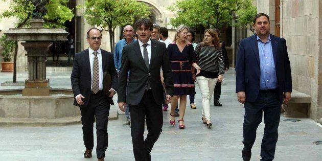 Reunión de Puigdemont con representantes de los partidos partidarios del
