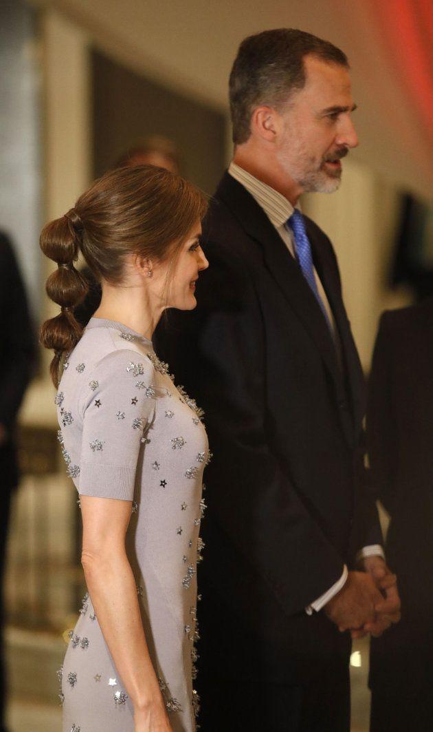 Los Reyes Felipe VI y Letizia, durante el acto conmemorativo del 60º aniversario de Europa Press, celebrado...
