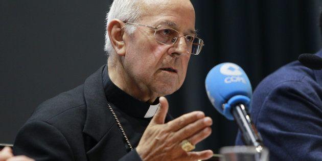 El presidente de la Conferencia Episcopal, el cardenal Ricardo Blázquez, ayer durante la presentación...