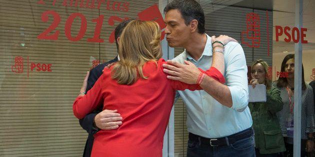 Díaz y Sánchez, antes del debate de las primarias del