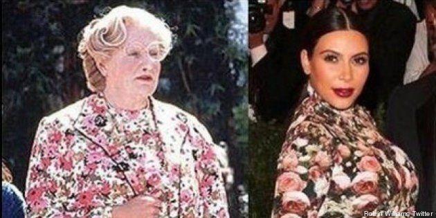 La Señora Doubtfire se ríe del vestido de Kim Kardashian en el MET (TUIT,