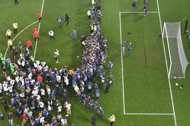 View of the pitch during celebrations after Real Madrid won the UEFA Champions League final football...