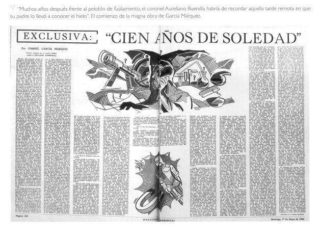 Doble página del diario colombiano 'El Espectador' que dio en primicia el primer capítulo de 'Cien años...