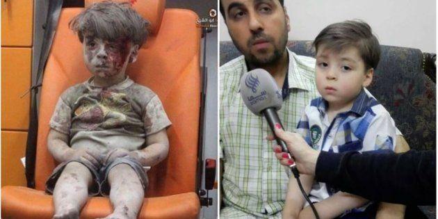 Omran Daqneesh, en la imagen que lo convirtió en icono de la guerra en Alepo y en la foto reciente, en...