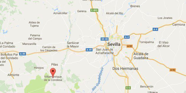 Mapa de situación de la localidad sevillana de Villamanrique de la Condesa, donde han sido encontrados...