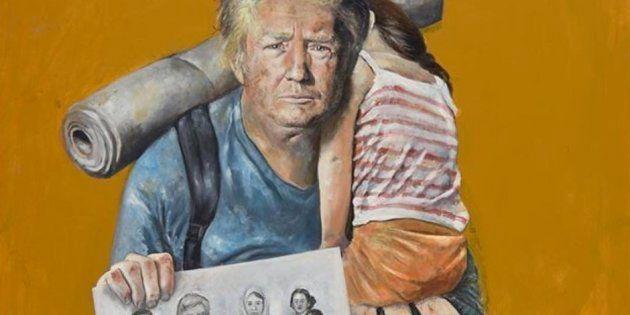 El presidente de EEUU, Donald Trump, retratado como un refugiado por Abdalla Al