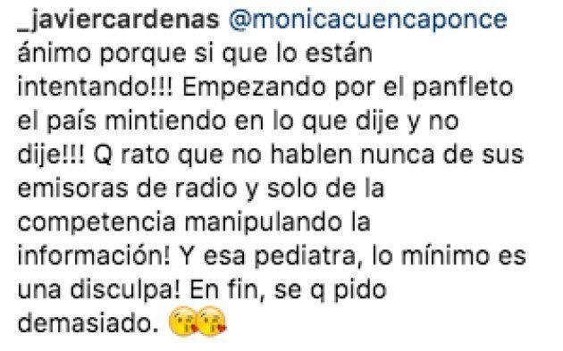 Cárdenas exige una disculpa a la pediatra que le corrigió sobre las