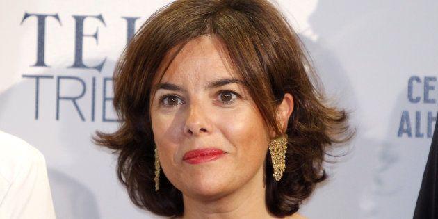 La vicepresidenta del Gobierno Soraya Sáenz de Santamaría durante la inauguración de la exposición 'Telva...