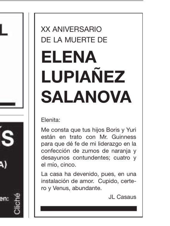 José Luis Casaus vuelve a dedicar una esquela a su mujer en 'El País' como cada 21 de