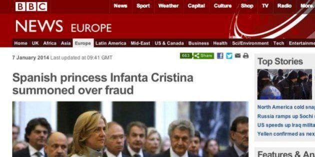 La imputación de la infanta Cristina, en toda la prensa internacional
