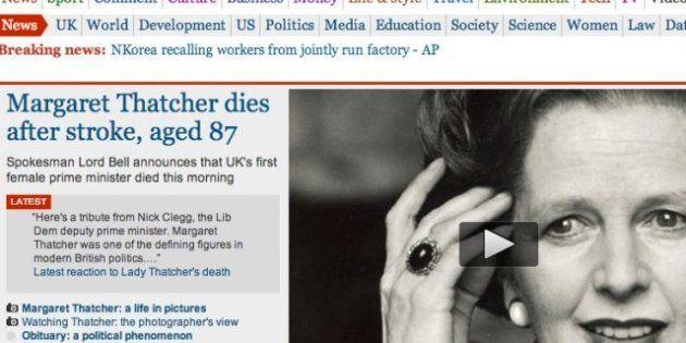 La muerte de Margaret Thatcher, en los medios digitales