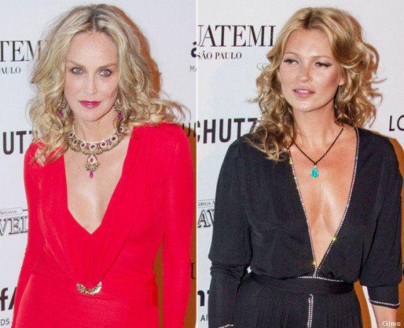 Kate Moss y Sharon Stone: beso de varios miles de euros por una buena causa