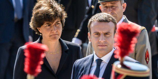 El presidente francés, Emmanuel Macron, y la ministra de defensa, Sylvie