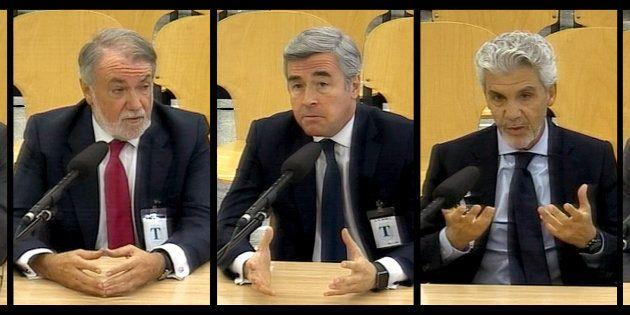 Javier Arenas, Jaime Mayor Oreja, Ángel Acebes, Gerardo Galeote y Rodrigo Rato, durante su declaración...