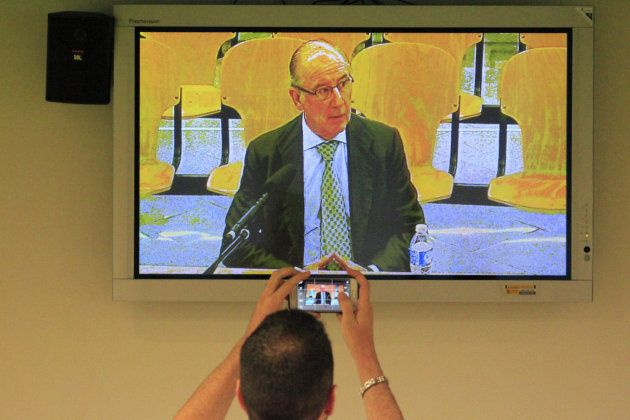Imagen tomada de un monitor de la Audiencia Nacional en San Fernando de Henares del exdirigente del PP...