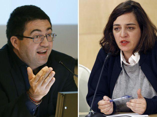 Carlos Sánchez Mato y Celia Mayer, en sendas imágenes de