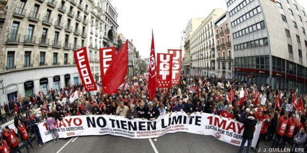 Manifestaciones Día del Trabajo: UGT y CC OO convocan 80 marchas este Primero de Mayo contra la austeridad...