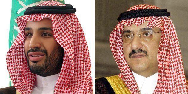 Combo de dos fotos de archivo facilitadas que muestra al príncipe Mohamed ibn Salman (izq) y al príncipe...