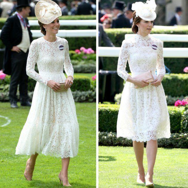 La duquesa de Cambridge en Ascot en 2016 (izquierda) y 2017