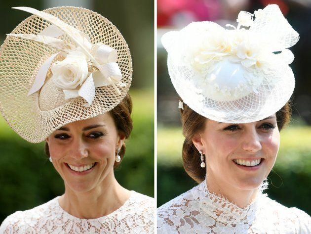 El tocado de la duquesa en 2016 (izquierda) y 2017