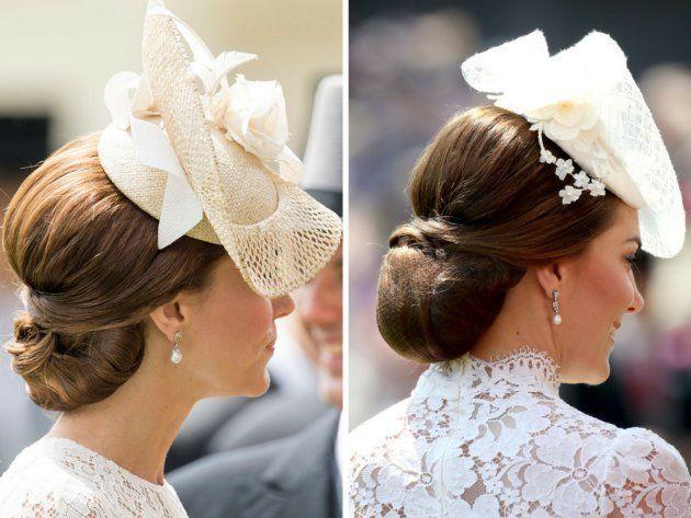 El peinado y el tocado de Kate en Ascot en 2016 (izquierda) y 2017